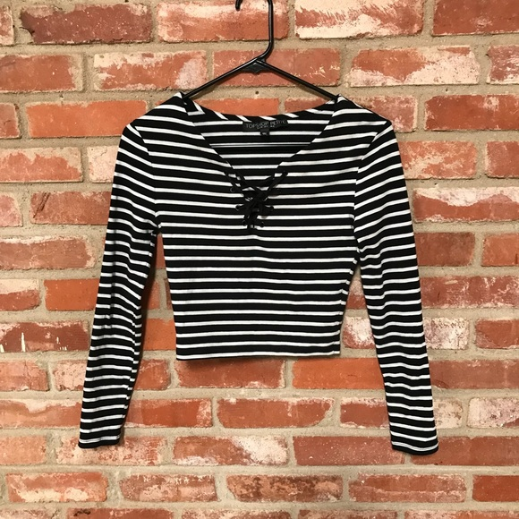 ec5b807f Topshop PETITE Tops | Hop Black White Striped Crop Top 82 | Poshmark